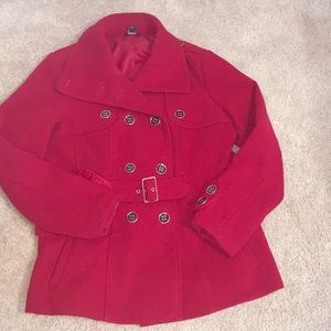Red peat coat